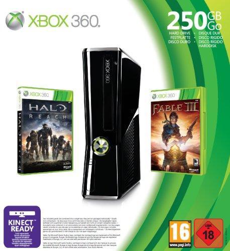 XBox 360 Konsole Slim Bundle 250 GB HDD inkl.Fable3 & Halo:Reach