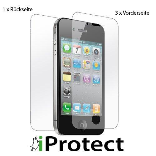 iprotect ORIGINAL iPhone 4 CrystalClear 3 x VORDERseite + 1 x