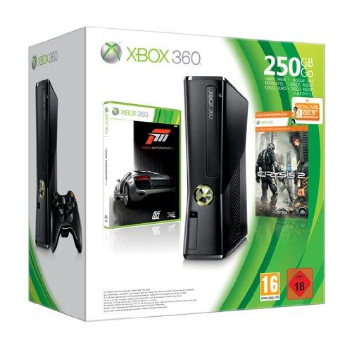 Xbox 360 - Konsole 250 GB, schwarz matt inkl. Forza 3 + Crysis 2