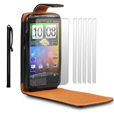 HTC DESIRE HD HANDY TASCHE LEDER TASCHE CASE HUELLE IN SCHWARZ